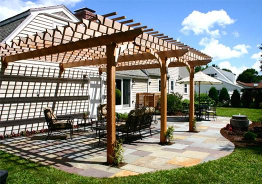 A traditionally attached pergola