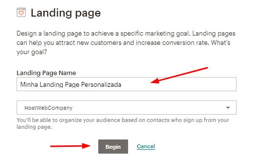 opção de fazer uma landing page