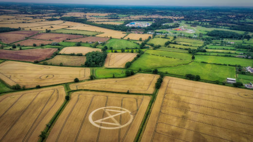 The Extinction Symbol in a crop circle.