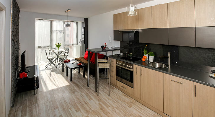 Cream & Grey Modular Kitchen Cabinets