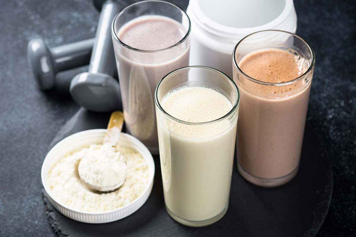 Variety of protein smoothies