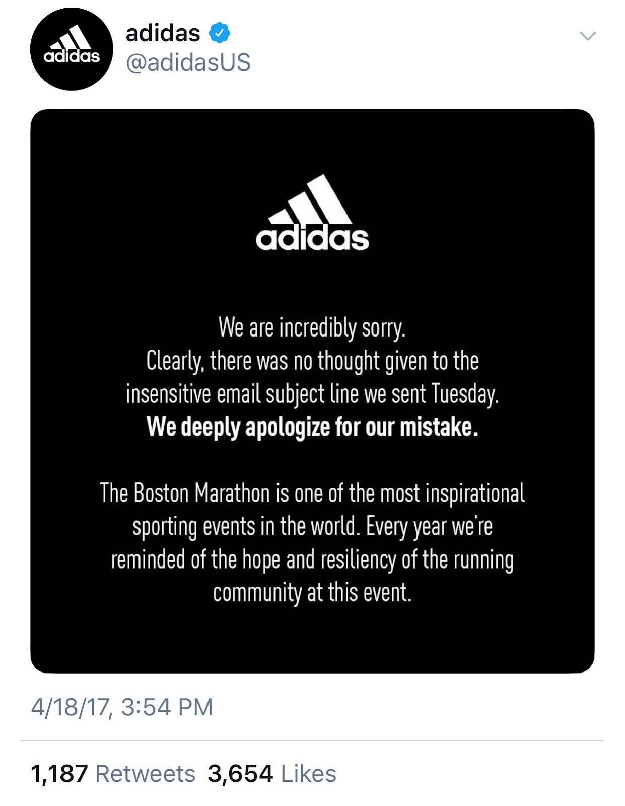 Adidas apologizing to customers on social media for insensitive email subject line.