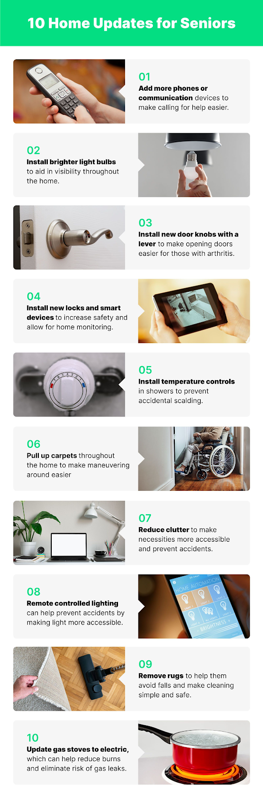 10 Home Aging in Place Updates for Seniors infographic