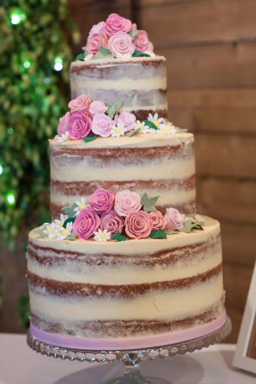 raspberry, coconut wedding cake