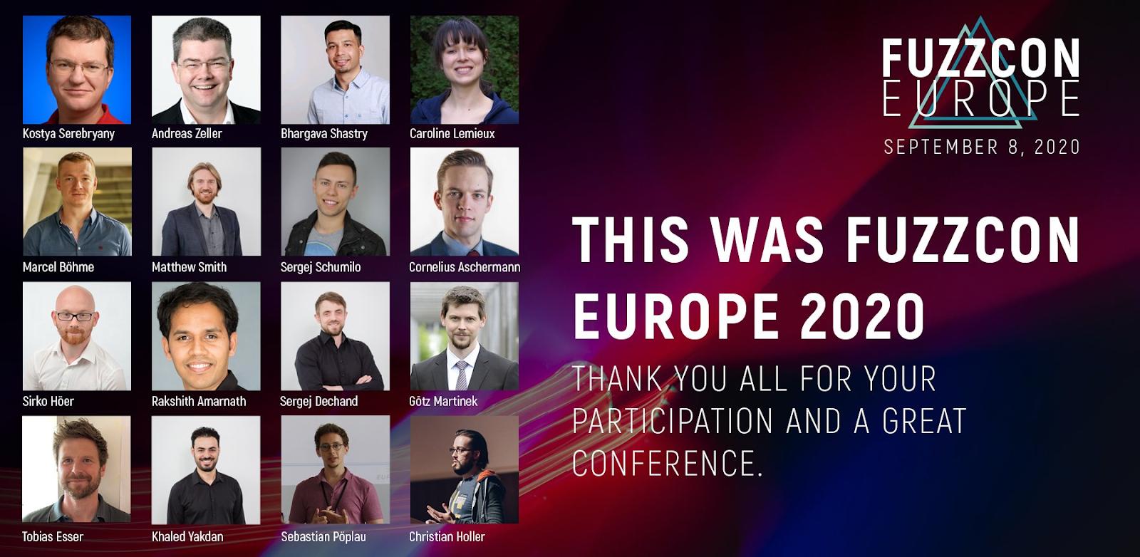 FuzzCon Europe - Kostya Serebryany, Marcel Böhme, Christian Holler, etc.