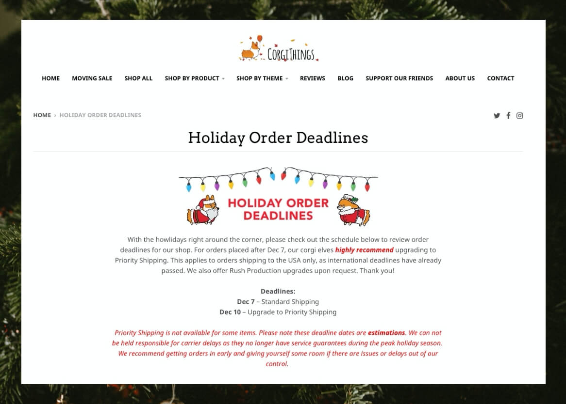 Holiday order page