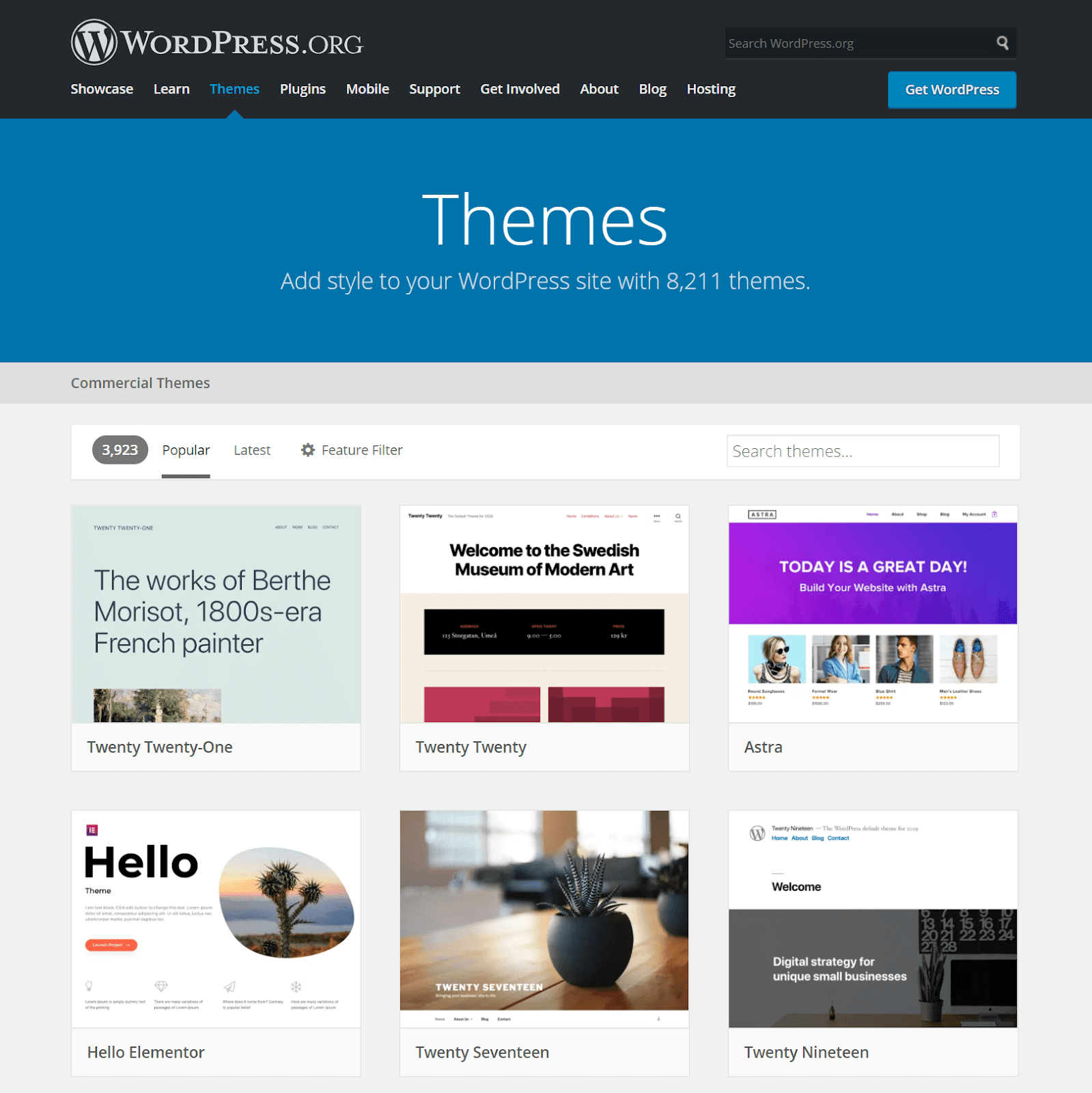 An image of the WordPress Theme Directory homepage.