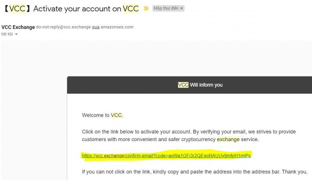 kich hoat san vcc exchange