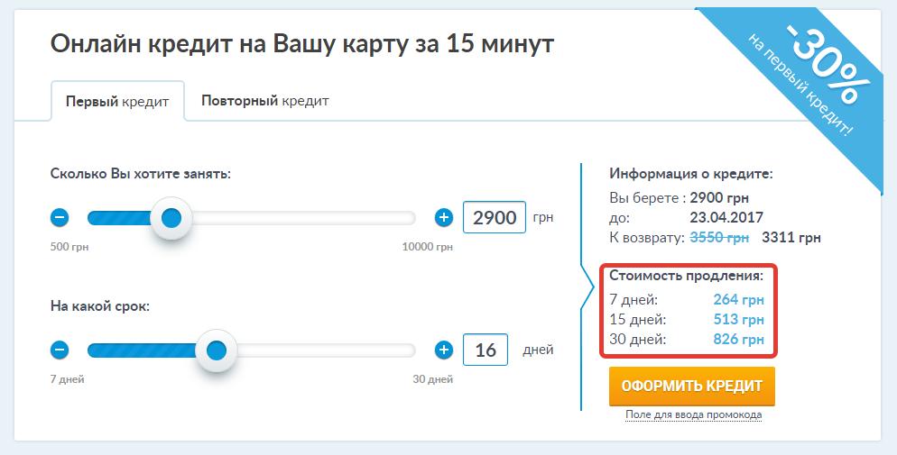 На сайте Credit365.ua стоимость продления кредита высчитывается сразу