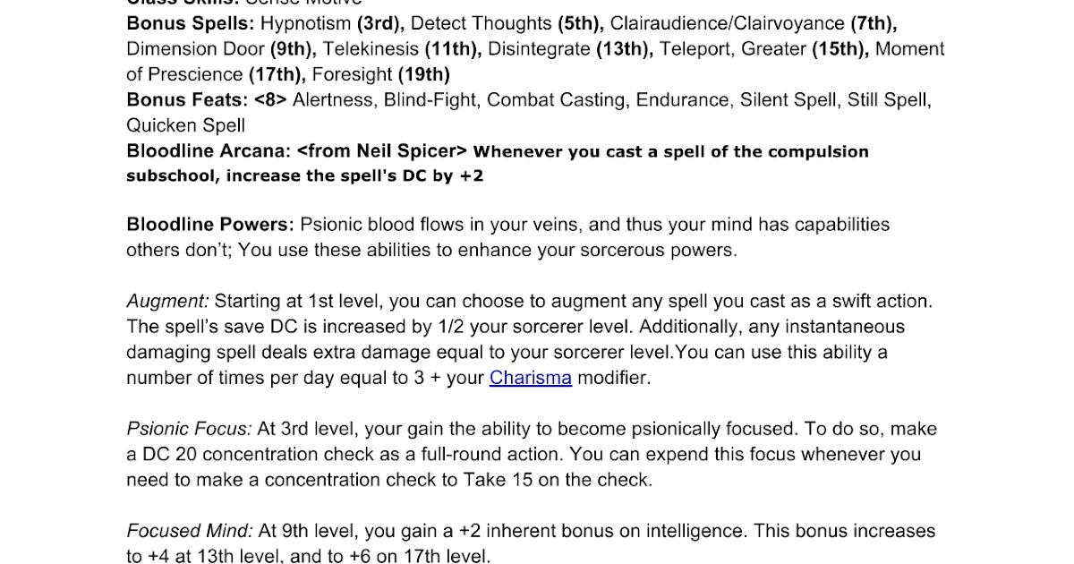 Pathfinder Psionic Sorcerer Bloodline