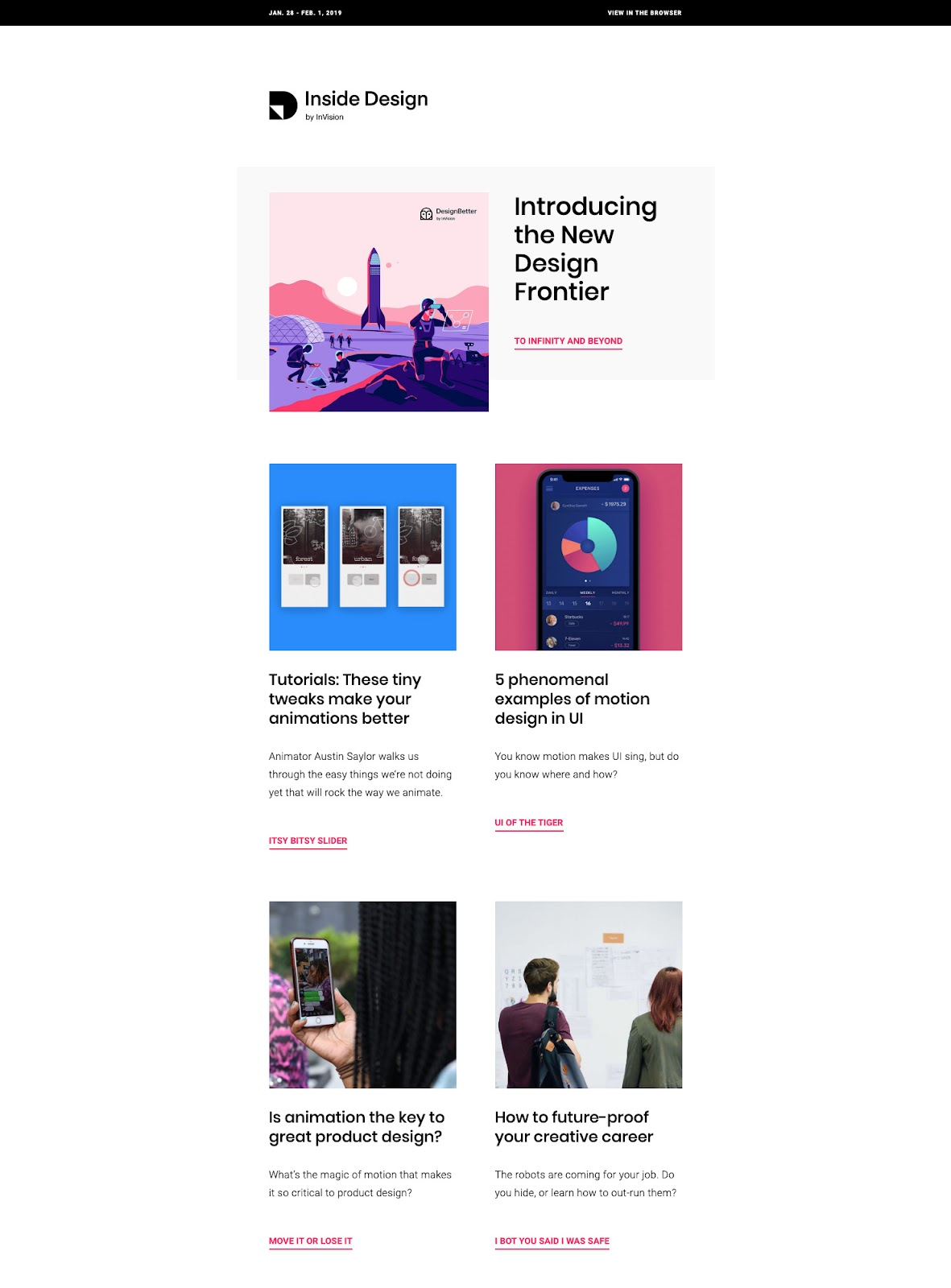 Example of InVision email newsletter.