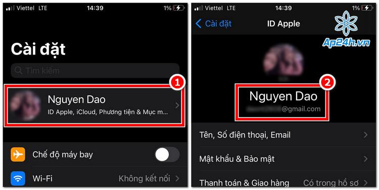 Mẹo xem email Apple ID trên iOS