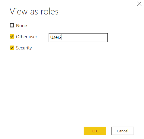 Select roles for viewing as