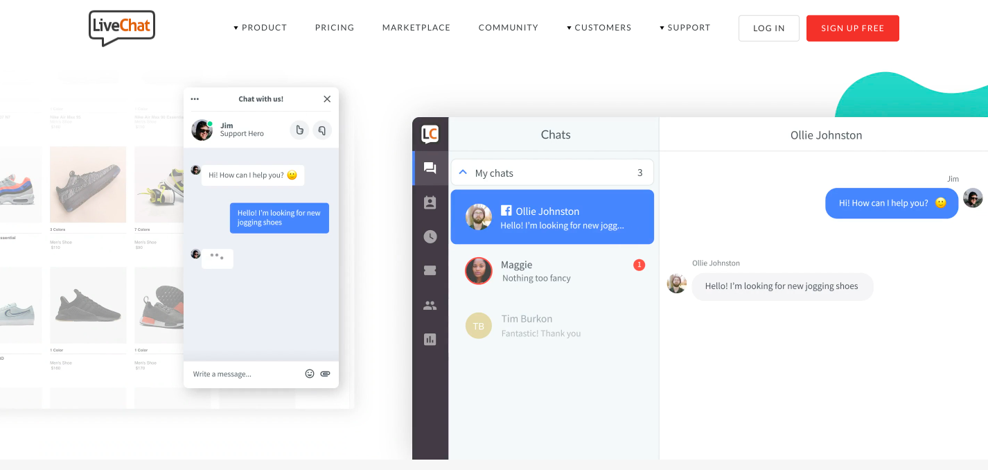 LiveChat modal is able to connect marketers with website visitors in real-time
