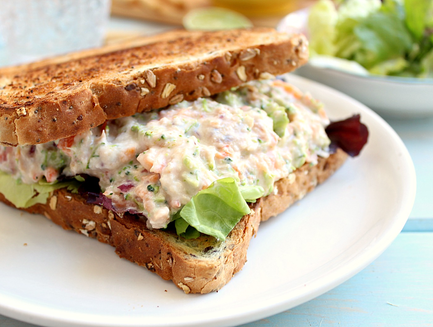 Clean Eating Tuna Salmon Salad Sandwich: the perfect high protein ...