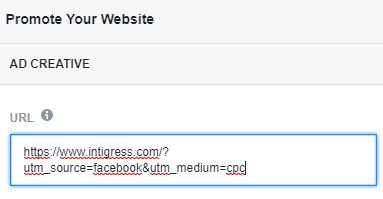 Screenshot of the URL field of Facebook Ad Center with the entire URL including parameters filled in.