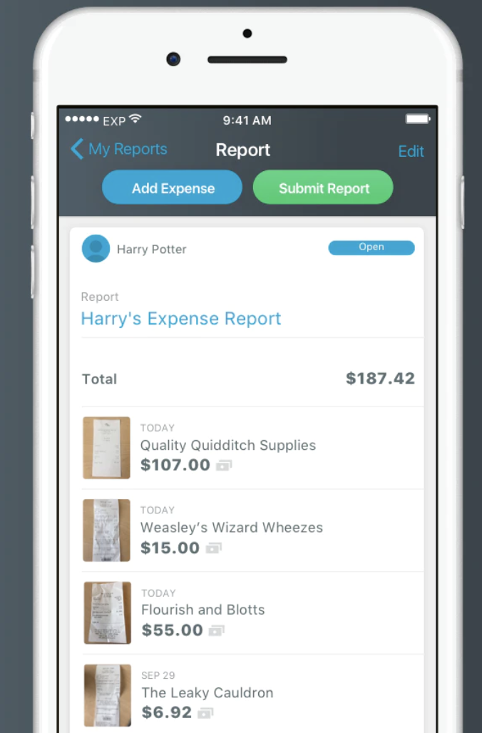 Screenshot of Expensify's application