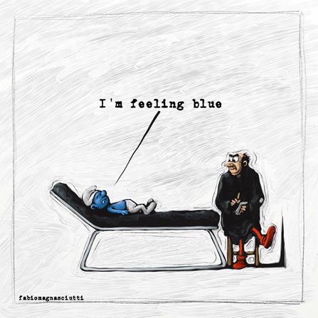 """vignetta con puffo sul lettino dell psicanalista (che è Gargamella) che dice """"I'm feeling blue"""""""