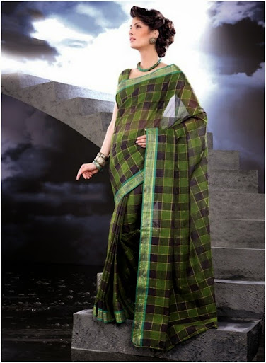 modern look with hand loom cotton saree
