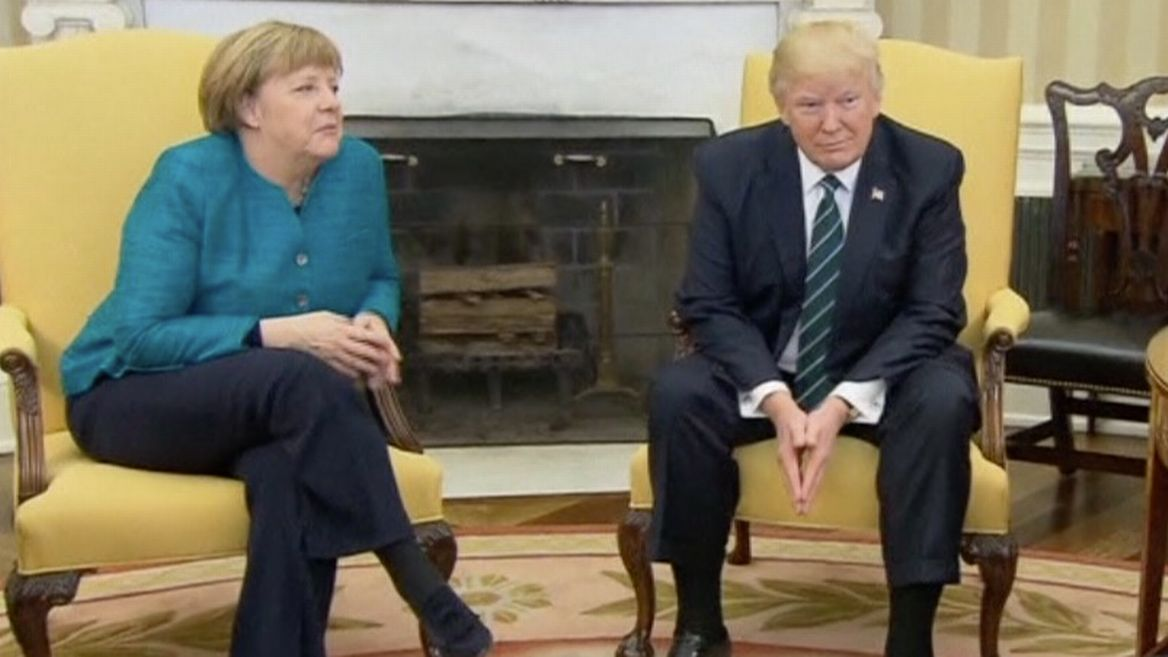 Image result for merkel's weird face with trump