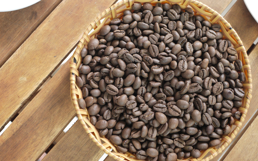 roasted robusta coffee beans in basket