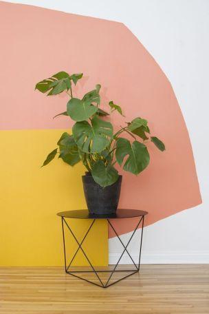 Pintura orgânica nas cores rosa e amarelo