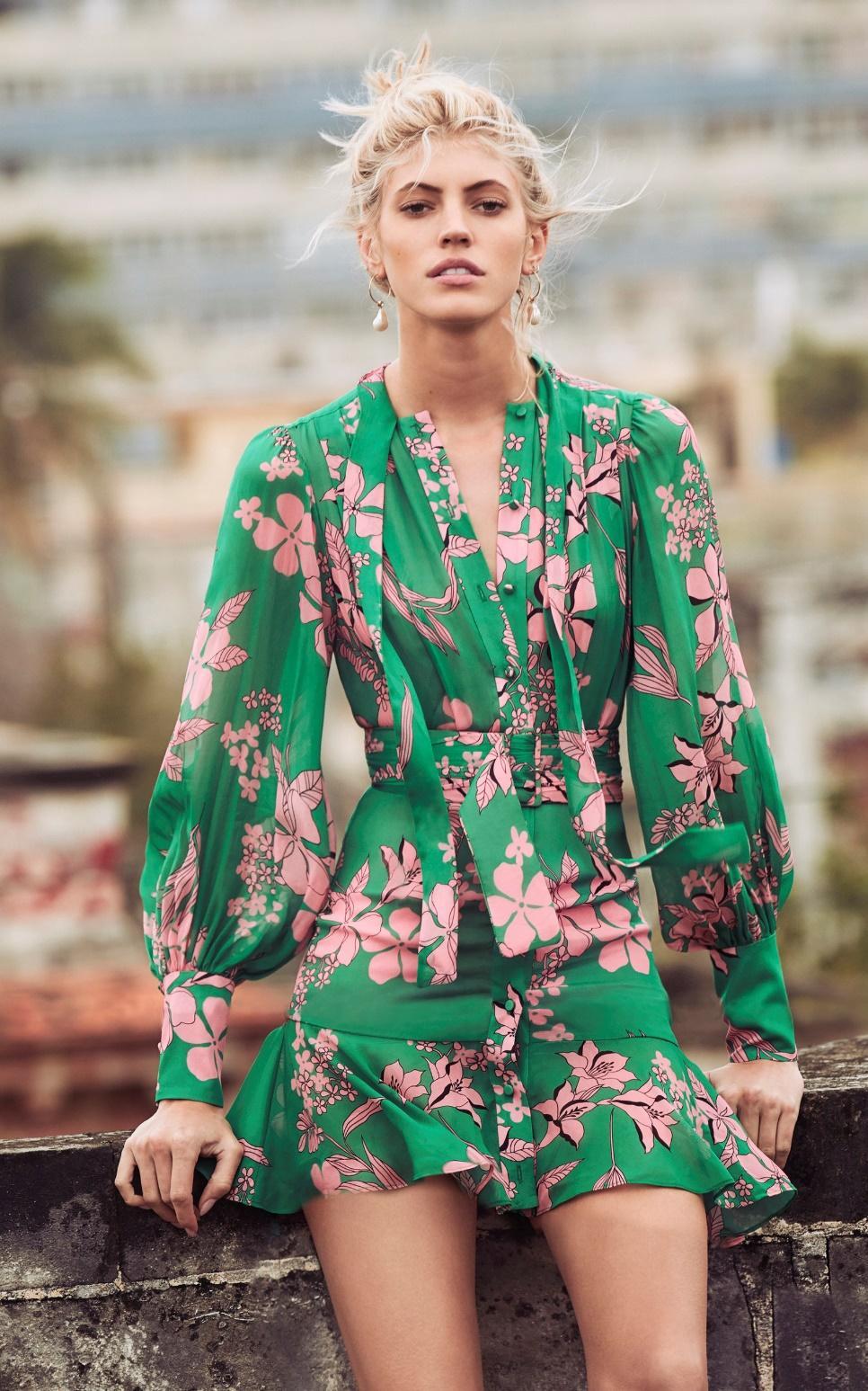EDEN Greed Floral Print Long Sleeve Ruffle Mini Dress – Wecapricious