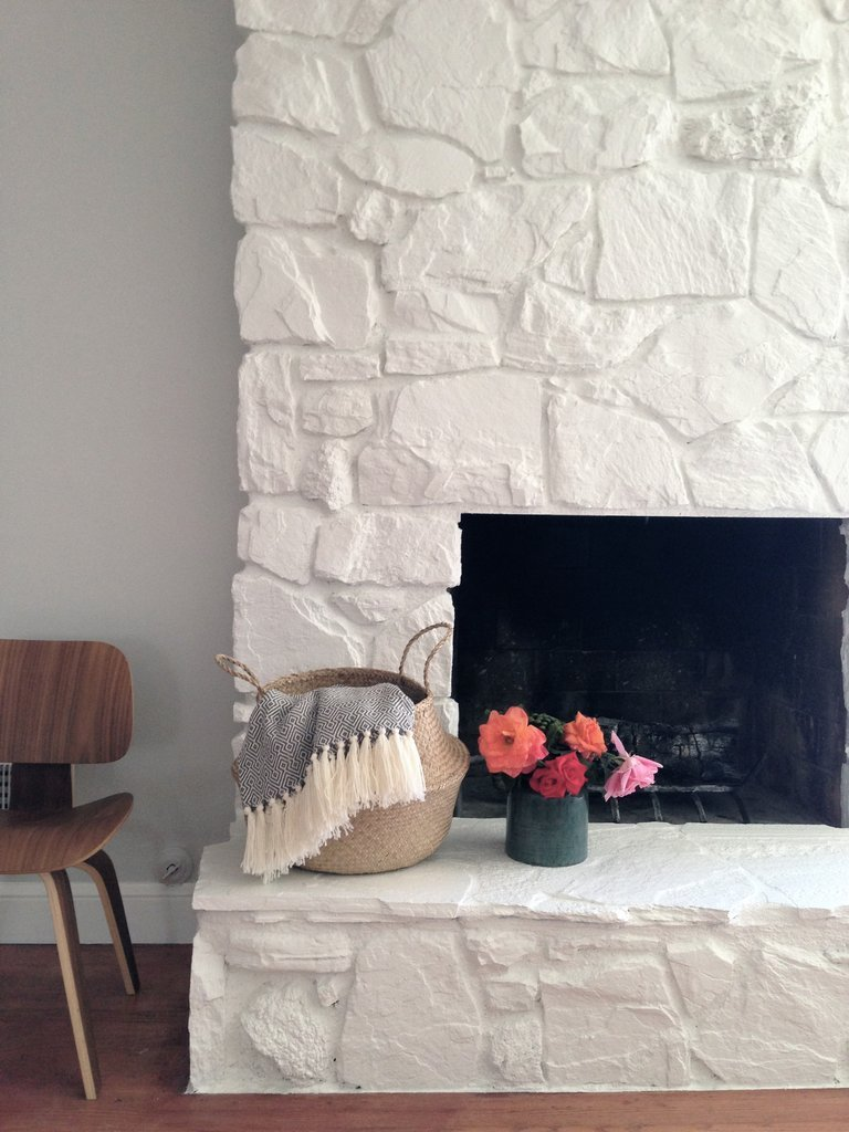 White Stone Painted Fireplace