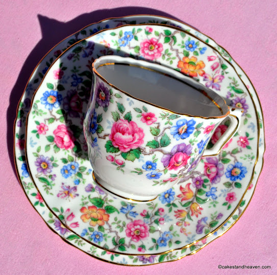 Multi Floral Crown Staffordshire Trio