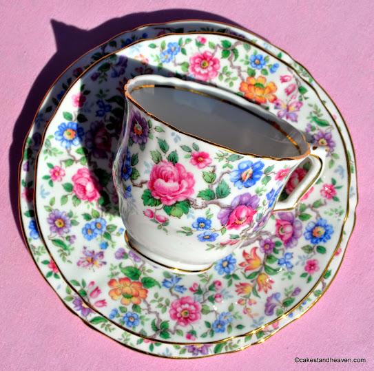 Multi Floral Crown Staffordshire Trio