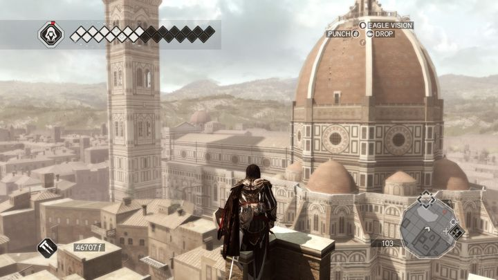 An assassin perches on a rooftop in the real-world location of Florence.