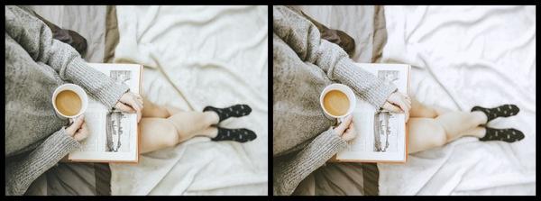 Montagem com 2 fotos da mesma mulher lendo um livro mostrando o antes e depois da edição.