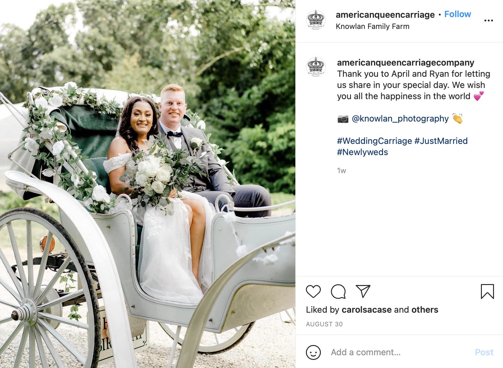 wedding carriage as a getaway car