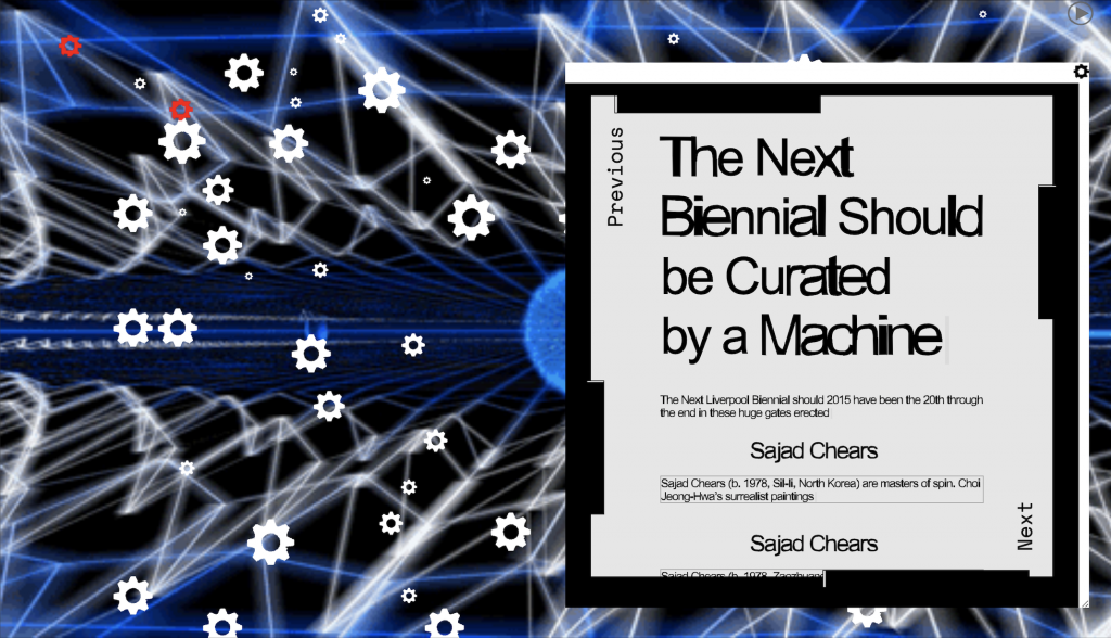 Exhibition poster, UBERMORGEN, Leonardo Impett, Joasia Krysa: The Next Biennial Should Be Curated by a Machine, 2021, Whitney Museum of American Art, New York, NY, USA.