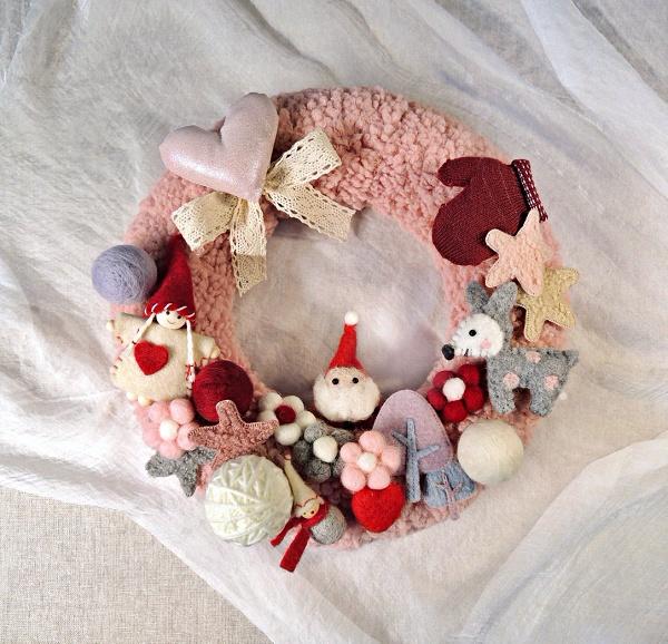羊毛氈聖誕花圈-手作聖誕花圈