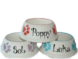 Luxury Ceramic Spaniel Dog Bowls Personalised