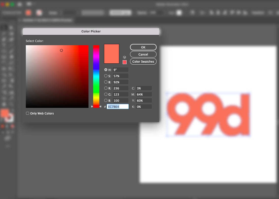 Screenshot of Adobe Illustrator interface showing the Color Picker