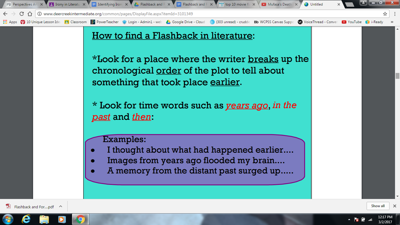 What is flashback in literature, in movies 23