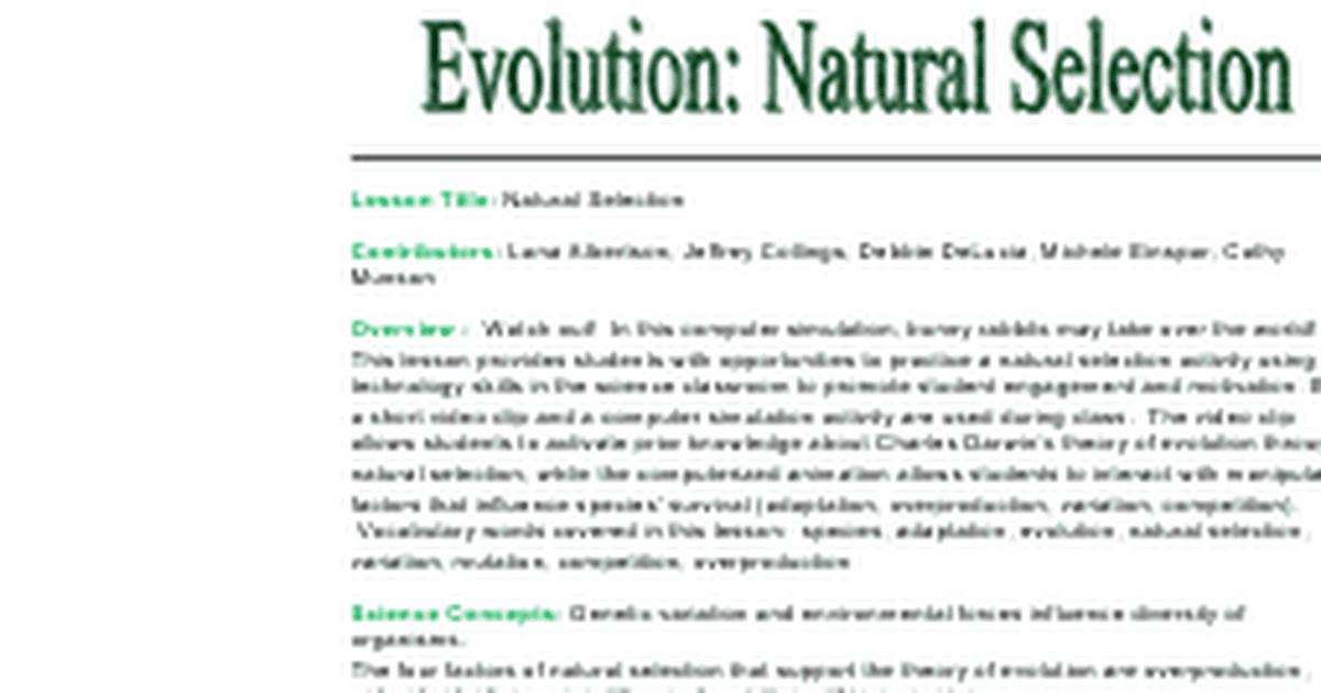 Evolution And Natural Selection Skills Worksheet Answers – Evolution Worksheets