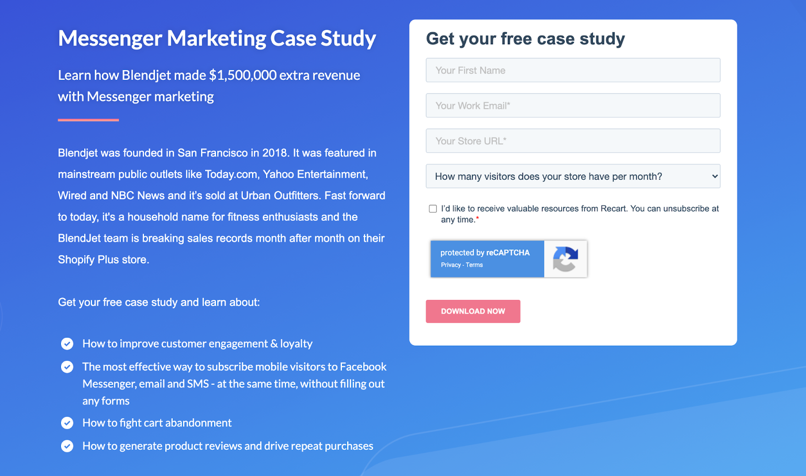 opt-in page used by Messenger Marketing