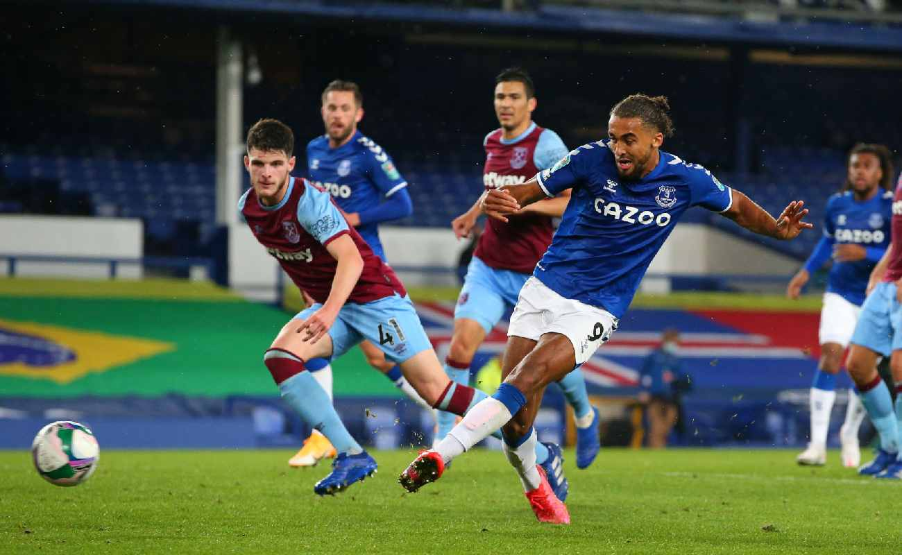 Dominic Calvert-Lewing scores a goal for Everton against West Ham - Photo by ALEX LIVESEY/POOL/AFP via Getty Images
