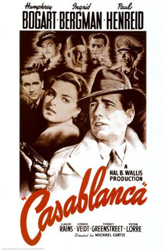 Casablanca, starring Humphrey Bogart and Ingrid Bergman, with Paul Henreid and Peter Lorre. Directed by Michael Curtiz. ($6.99):