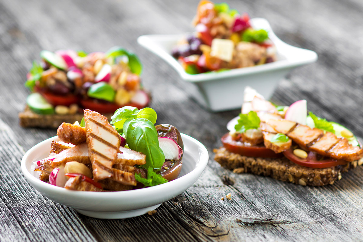 Small bowls of food: Spread out your protein intake to improve protein digestion