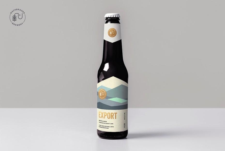 xu hướng thiết kế bao bì hình học: nhãn chai bia với tác phẩm nghệ thuật núi hình học trừu tượng