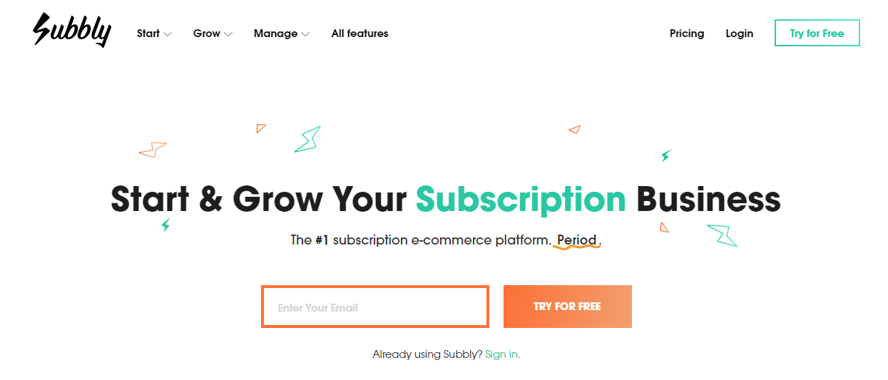 Subbly's landing page