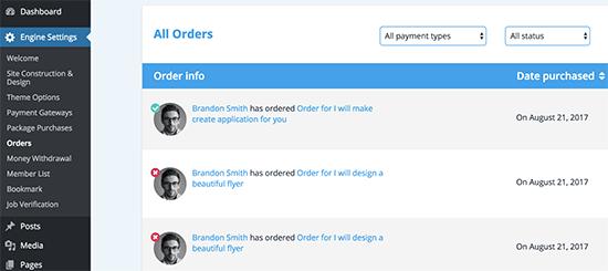 xem tất cả các đơn đặt hàng
