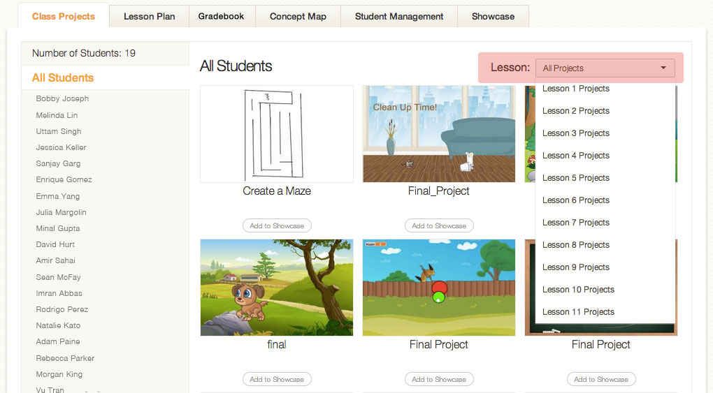 Teacher View of Student Projects