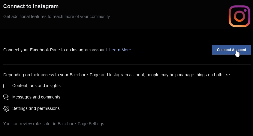 Facebook page Connect Account to Instagram