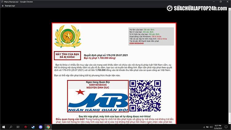 Thông báo tống tiền từ virus