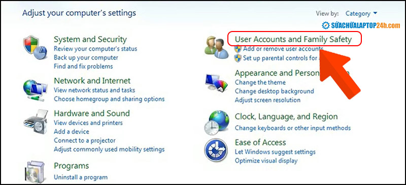 Truy cập User Accounts and Family Safety